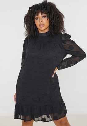 Missguided Plus Size Black Polka Dot High Neck Dress