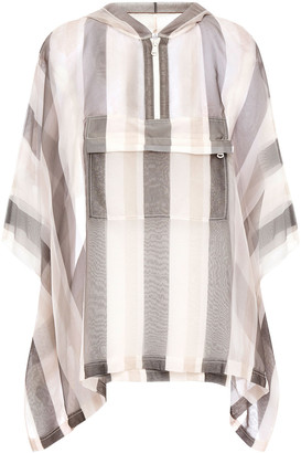 Brunello Cucinelli Bead-embellished Striped Silk-organza Hooded Poncho