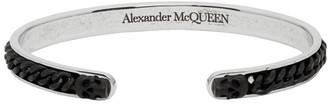 Alexander McQueen Silver and Black Skull Chain Open Bracelet