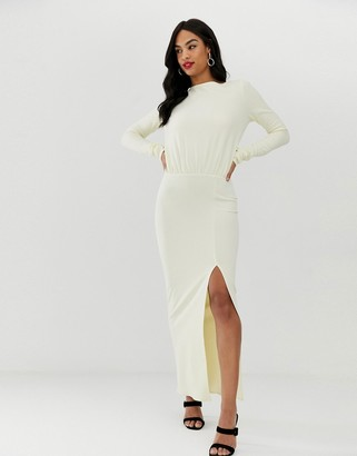 Asos Design DESIGN long sleeve maxi dress with open back-Cream