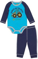 "John Deere Baby Boy Always On The Move"" Tractor Raglan Bodysuit & Pants Set"