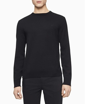 Calvin Klein Merino Crew Neck Sweater (Black 2) Men's Sweater