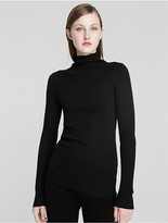Calvin Klein Collection Fine Cashmere Rib Mock Neck Sweater