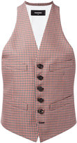 DSQUARED2 checked waistcoat - women - Cotton/Virgin Wool - 40