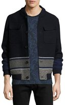 Etro Wool Blanket-Stripe Bomber Jacket, Navy