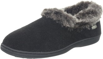 Acorn Women's Faux Chinchilla Collar Slipper Black