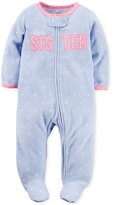 Carter's Baby Microfleece Girls' Sister Dot-Print Footed Coverall