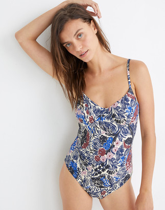 Madewell Second Wave Structured One-Piece Swimsuit in Aster Portrait