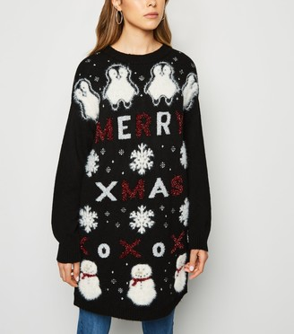New Look Longline Slogan Christmas Jumper