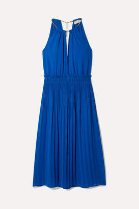 MICHAEL Michael Kors Hayden Chain-embellished Pleated Georgette Dress - Royal blue