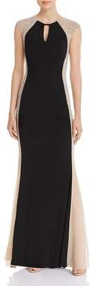 Avery G Caviar Floor-Length Beaded Dress