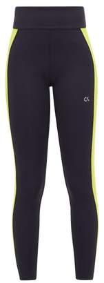Calvin Klein Logo Print Striped Technical Leggings - Womens - Black