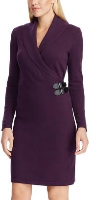 Chaps Women's Shawl Collar Faux-Wrap Dress