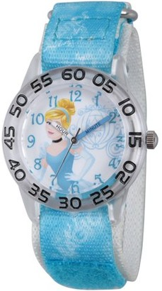 Disney Princess Cinderella Girls' Clear Plastic Time Teacher Watch, Blue Hook and Loop Stretchy Nylon Strap with Printed Editorial