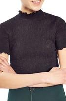Topshop Women's Textured Ruffle Edge Tee
