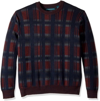 Perry Ellis Men's Big Exploded Plaid Crew Sweater