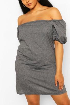 boohoo Plus Off The Shoulder Linen Shift Dress