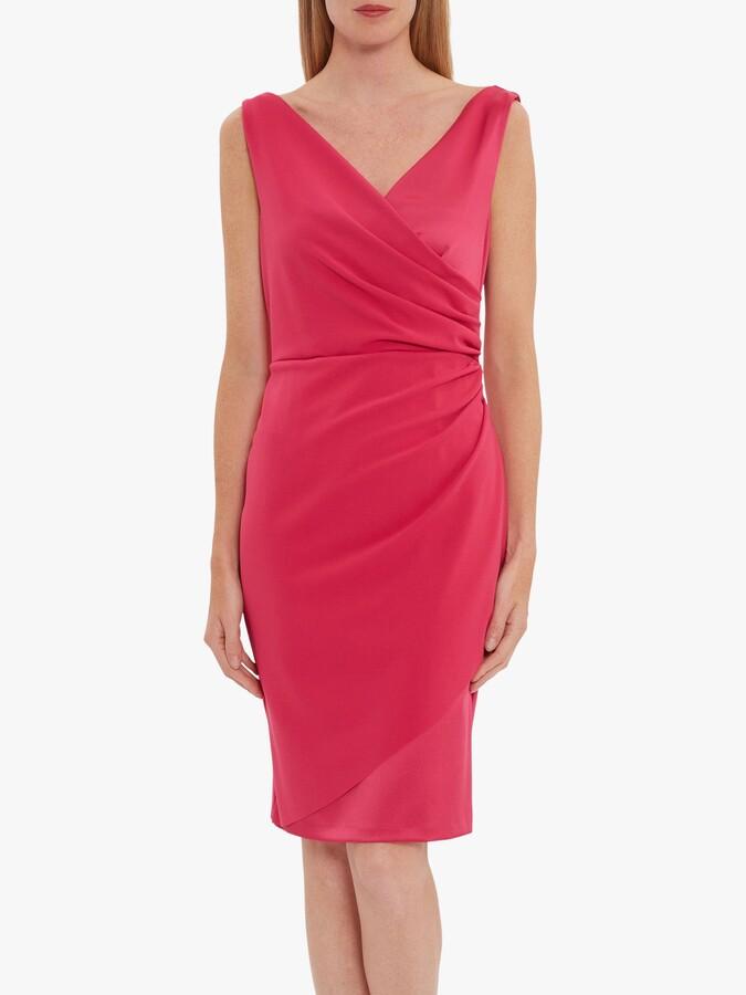 Gina Bacconi Loni Crepe Satin Wrap Dress