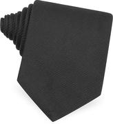 Forzieri Black Seven Fold Silk Tie