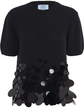 Prada Sequin-Embellished Cashmere Top
