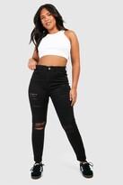 boohoo Plus Rip Knee Distressed High Waist Skinny Jeans