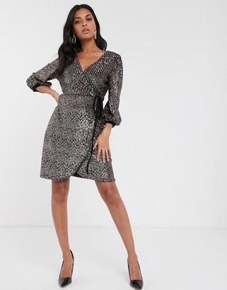 Vero Moda sequin velvet mix wrap mini dress