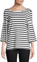 Max Studio Women's Stripe Bell Sleeve Tee