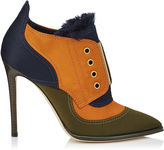 Jimmy Choo MITSU 110 Army Green Frayed Satin Mix and Gold Metallic Elastic Ankle Booties