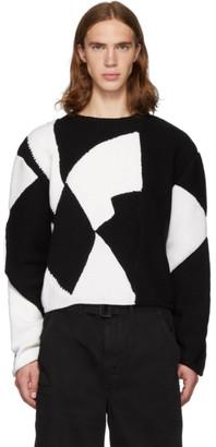 Judy Turner White and Black Merino Wool 2 Color Crush Sweater