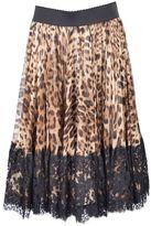 Dolce & Gabbana Leopard Print Pleated Skirt From Brown Leopard Print Pleated Skirt With Elasticated Waistband, A Hidden Rear Zip Closure, A Knee Leng