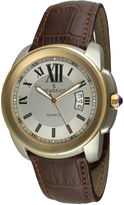 Peugeot Mens Gold-Tone Brown Leather Strap Watch 2045GBR