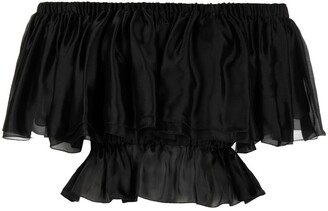 Alexandre Vauthier Ruffled Cropped Silk Blouse