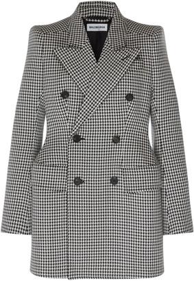 Balenciaga Houndstooth Double-Breasted Wool Blazer