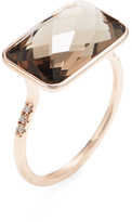 Meira T 14K Rose Gold, Smoky Quartz & 0.04 Total Ct. Diamond Ring