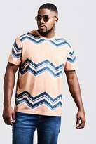 BoohooMAN Big & Tall Chevron Print T-Shirt