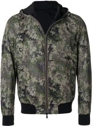 Herno camouflage print hooded bomber jacket