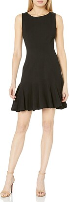 Three Dots Women's Ponte Fit and Flare Seamed Mid Tight Dress