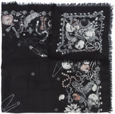 Alexander McQueen skull embroidered scarf - women - Silk/Modal - One Size
