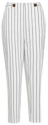 Dorothy Perkins Womens White Pinstriped Ankle Grazer Trousers, White