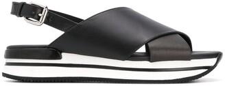 Hogan Stripe Platform Sandals