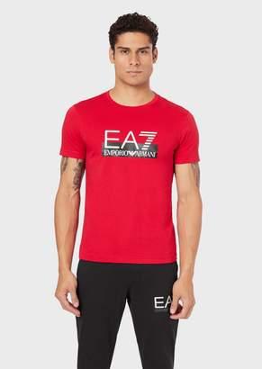 Emporio Armani Stretch Cotton T-Shirt With Ea7 Logo Print