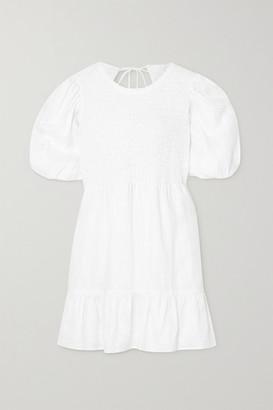 Faithfull The Brand Net Sustain Lorica Open-back Shirred Linen Mini Dress - White