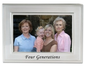 """Lawrence Frames Brushed Metal Four Generations Picture Frame - Sentiments Collection - 4"""" x 6"""""""