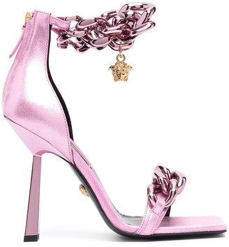 Versace Pink Chain-Link Square Sandals
