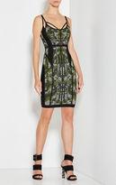 Herve Leger Alessandra Camo Jacquard Zigzag Detail Dress