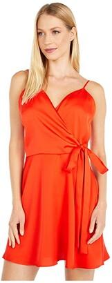 WAYF Amery Faux Wrap Mini Dress (Hot Red) Women's Dress