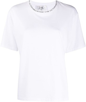 Victoria Victoria Beckham logo lined crew neck T-shirt