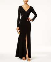 Xscape Evenings Illusion V-Back Slit Gown