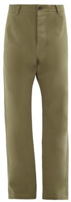 Raey Wide-leg Cotton Trousers - Mens - Green