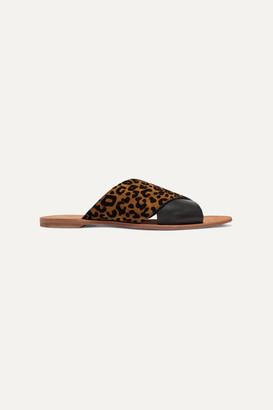 Diane von Furstenberg Bailie Leopard-print Suede And Leather Slides - Leopard print